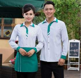 快餐厅工作服长袖衬衣咖啡厅火锅店男女服务员制服酒店工作服
